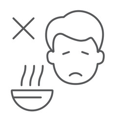 Loss appetite thin line icon diet and covid-19 vector