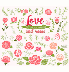 love and roses design elements vector image