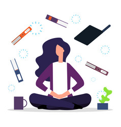 Office meditation concentration at workspace vector