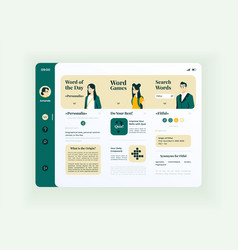 Online education tablet interface template vector