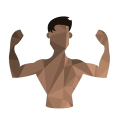 Polygon texture flexing man icon vector
