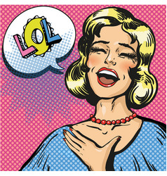 pop art of laughing out loud vector image vector image