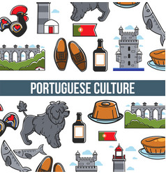 portuguese culture seamless pattern poster with vector image