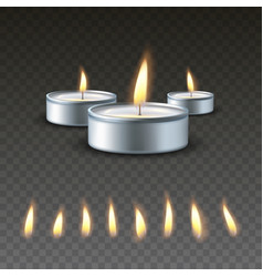 Realistic 3d burning tea candle on a dark vector