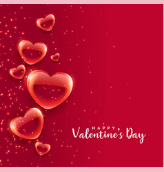 Red bubble hearts floating valentines day vector