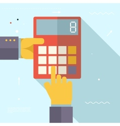 Retro Business Hands with Calculator Financial vector
