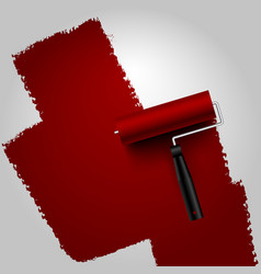 Roller painted dark red on white background vector