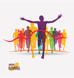 running people set silhouettes competition and vector image