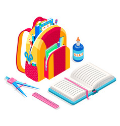 Satchel with textbook book and ruler glue bottle vector