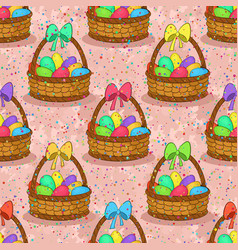 seamless basket with easter eggs vector image