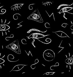 seamless open eye pattern on black background vector image
