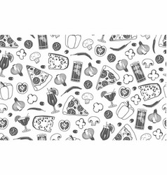seamless pattern of pizza vector image