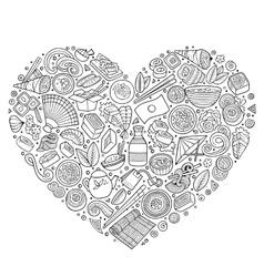 Set japan food cartoon doodle objects symbols vector