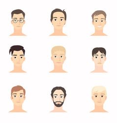 Set of beautiful faces of young men close-up vector