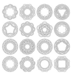 Set of celtic knotting rings 16 circular vector