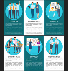 Set of working task teamwork strategy banners vector