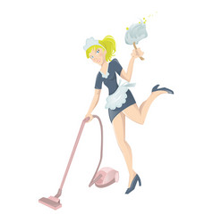 Sexy maid with vacuum cleaner and dust wiper vector