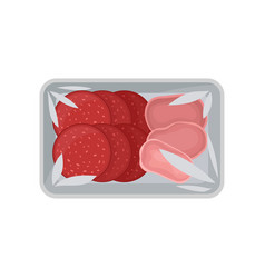 Sliced salami sausage and ham in the package with vector