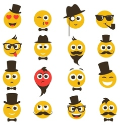 smiley faces in retro style vector image