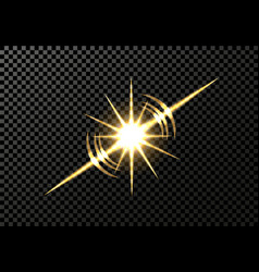 Solar flare star light effect on a transparent vector