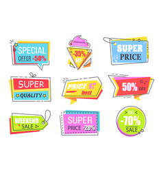 special offer labels with half price reduction vector image
