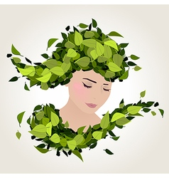 spring face leaves vector image