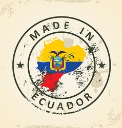 Stamp with map flag of Ecuador vector