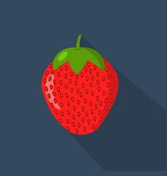 strawberry cartonn flat icon dark blue background vector image
