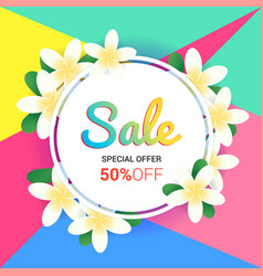 Summer sales banner or poster with floral frame vector
