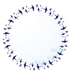Swallows and clouds vector