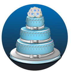 Three tier light blue wedding cake vector