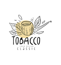 tobacco logo design hand drawn emblem can be used vector image