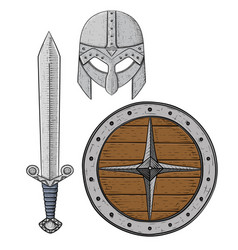 Viking armor set - helmet shield and sword vector