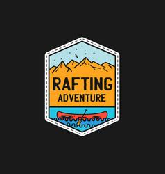 Vintage rafting adventure patch logo wilderness vector
