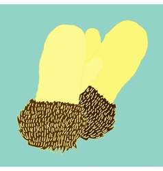 Warm knitted mittens trimmed with fur vector