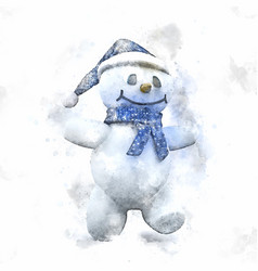 Watercolour painting of a cute christmas snowman vector
