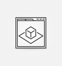 Web page with ar icon in thin line style vector
