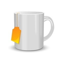 White cup of tea with label vector image