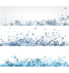 Winter banners set with blue snowflakes vector image