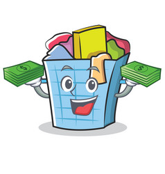 With money laundry basket character cartoon vector