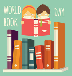 World book day girl and boy reading vector