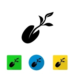 black starting plant from seed icon vector image