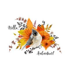 floral card design hello autumn season colorful vector image vector image