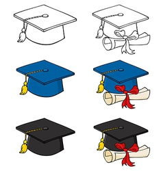 Graduation Caps-Collection vector image vector image