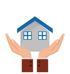 House and sheltering hands icon vector