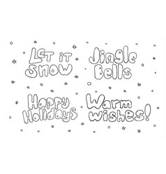 set of christmas and new year lettering vector image vector image