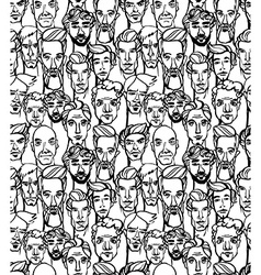 Seamless pattern of male doodle hand drawn vector image vector image