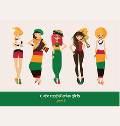 set with isolated rasta girls rastafarian vector image vector image