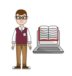 teacher with laptop web learn knowledge vector image