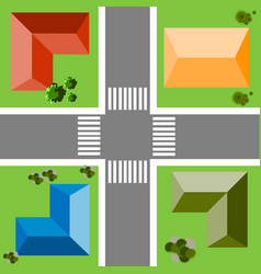 top view of the city quarter with streets houses vector image